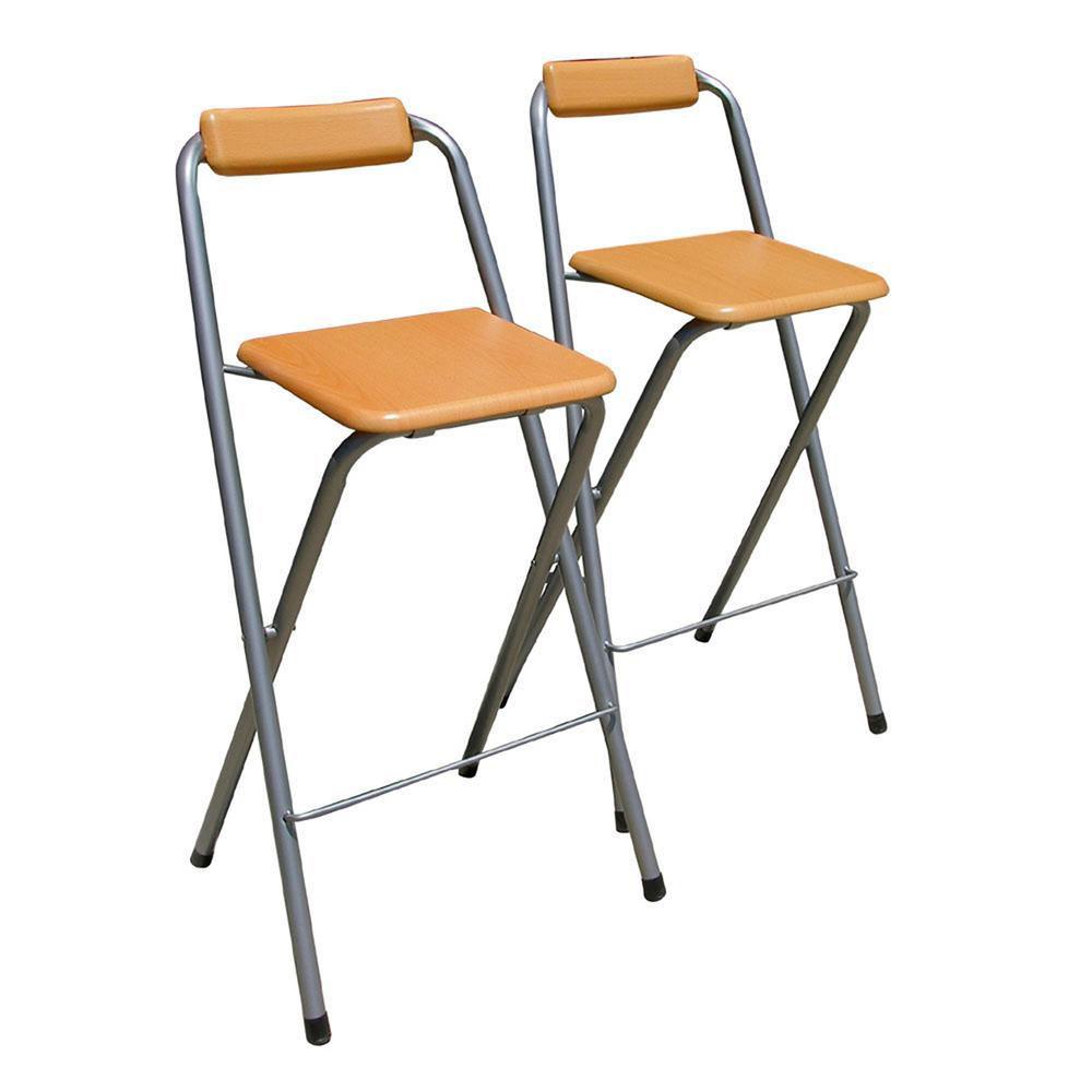 Silver Folding Bar Stool Set Of 2