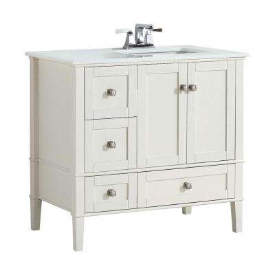 Chelsea 36 in. Bath Vanity in Soft White with Quartz Marble Vanity Top in White with Right Off Set White Basin