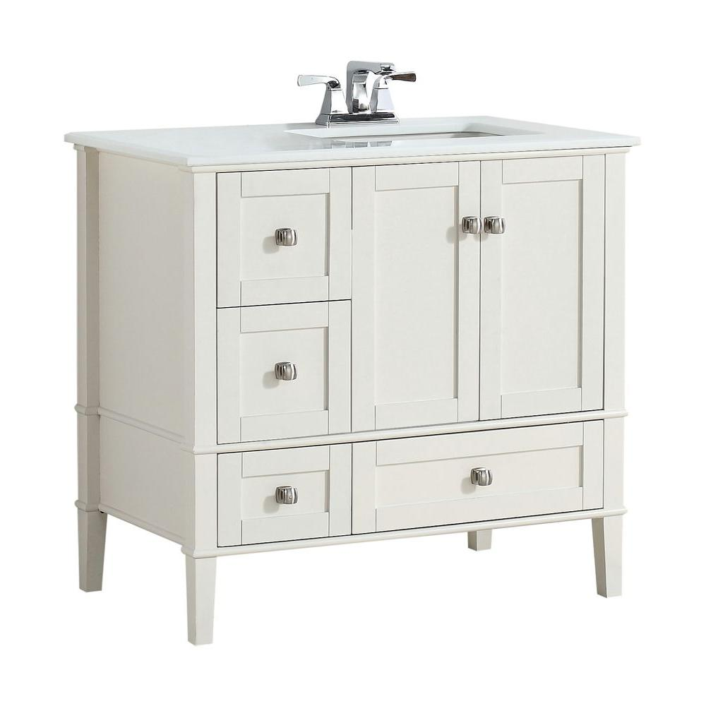 Simpli Home Chelsea 36 In Vanity Off White With Quartz Marble Top