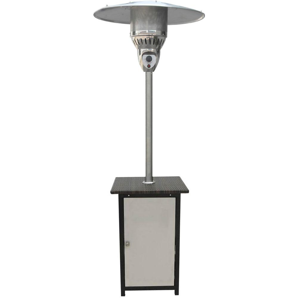 41 000 Btu Stainless Steel Square Propane Gas Patio Heater With Wicker Table