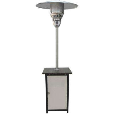 7 ft. 41,000 BTU Stainless Steel Square Propane Gas Patio Heater with Wicker Table Top