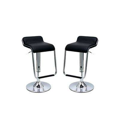 Sophisticated Horatio Black Barstool with a Hanging Footrest (Set of 2)