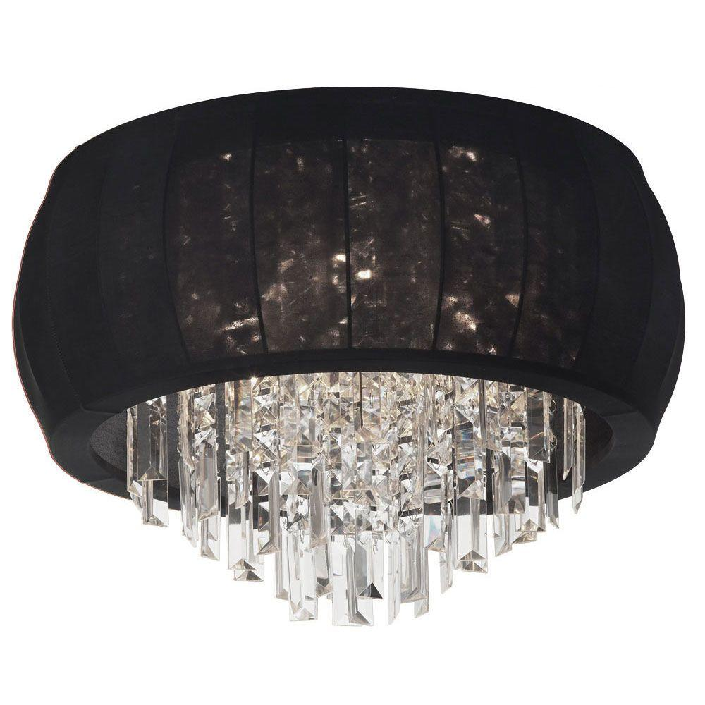 Radionic Hi Tech Maya 8-Light Polished Chrome Crystal Flushmount with Black Lycra Shade