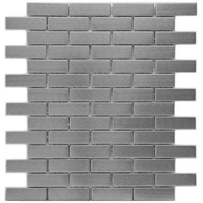 Meta Subway 10-1/2 in. x 12-1/4 in. x 8mm Stainless Steel Metal Over Ceramic Mosaic Tile