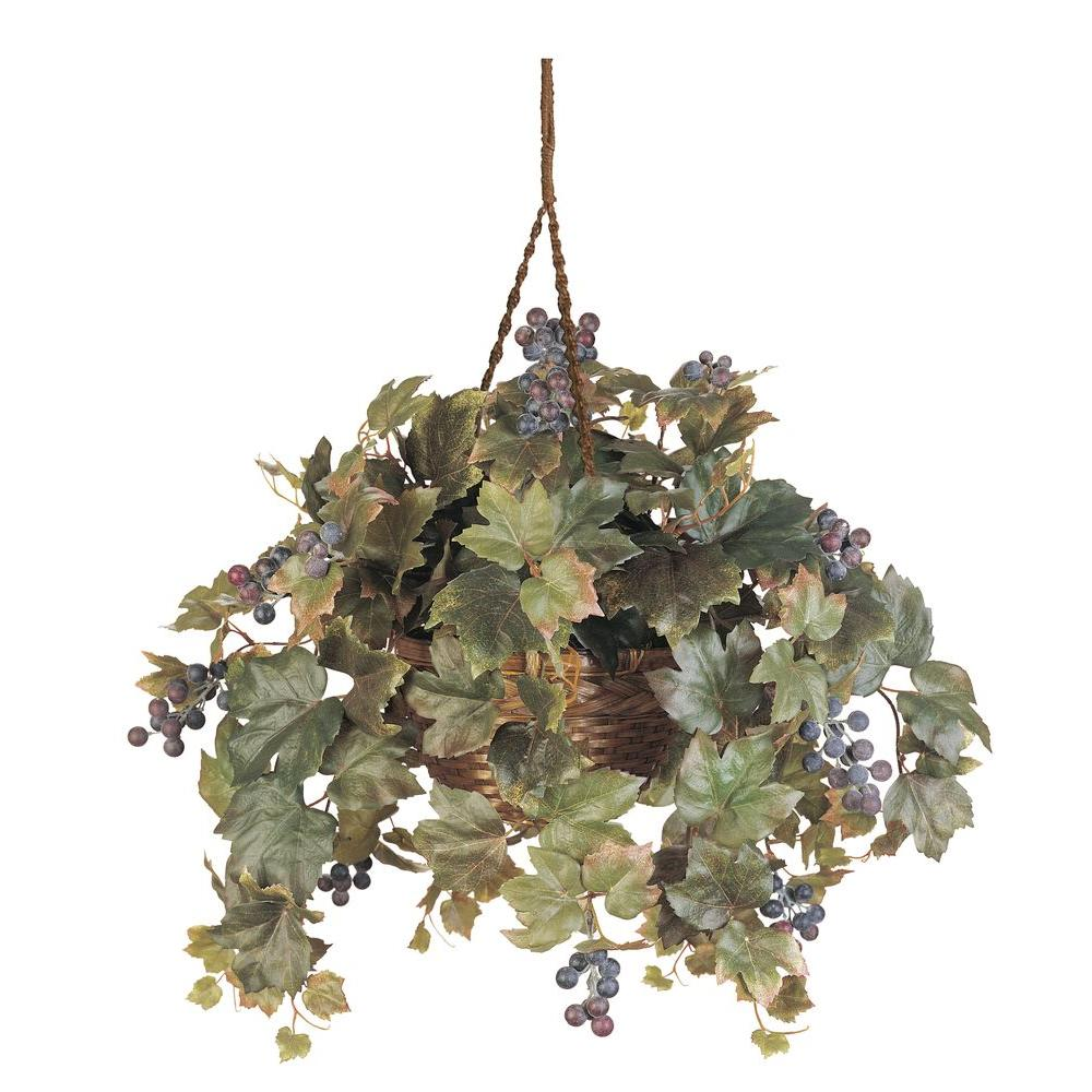 Nearly Natural 22 in. Grape Leaf Silk Hanging Basket