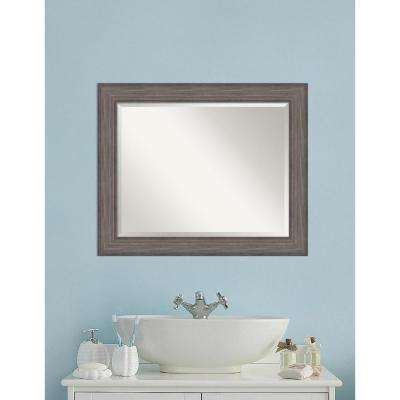 Country Barnwood Wood 34 in. W x 28 in. H Distressed Bathroom Vanity Mirror