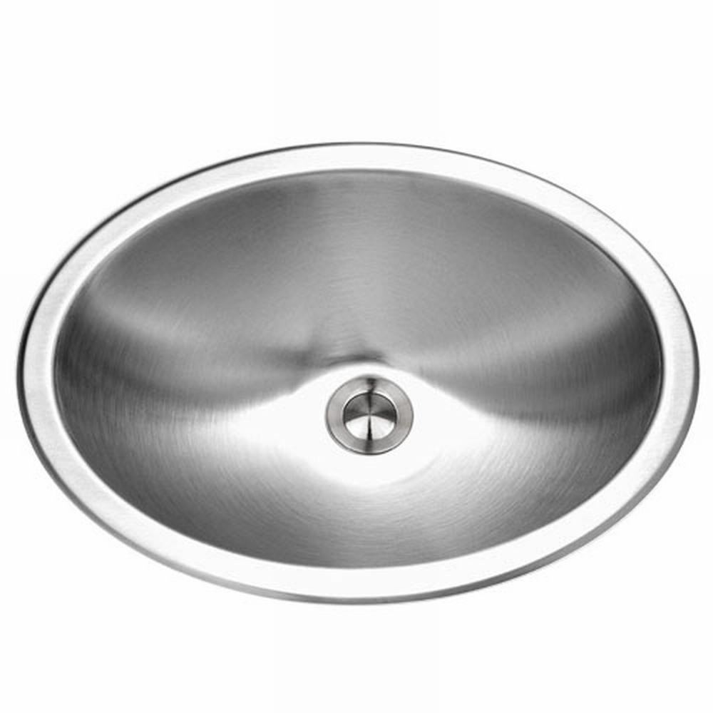 HOUZER Opus Series Undermount 13.6 in. Single Bowl Lavatory Sink in Stainless Steel