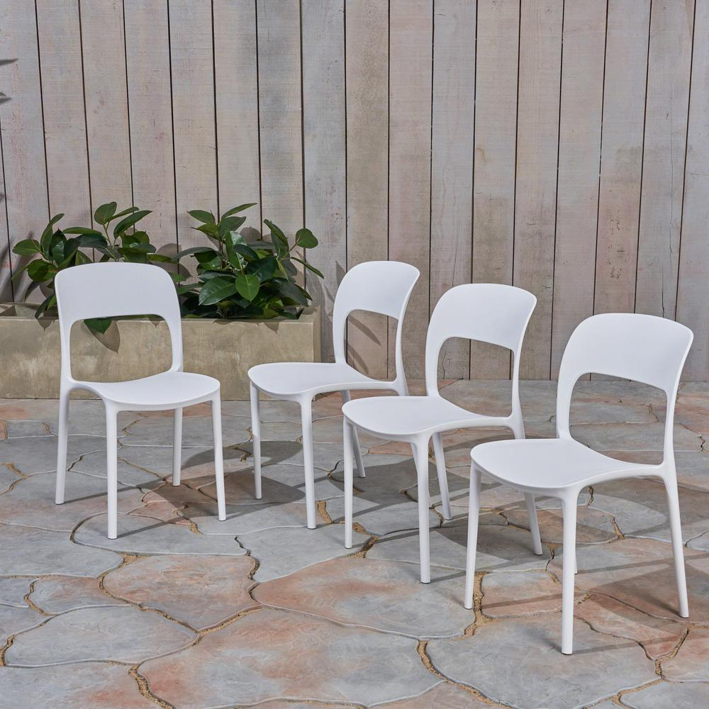 Katherina White Armless Plastic Outdoor Dining Chairs (4-Pack)