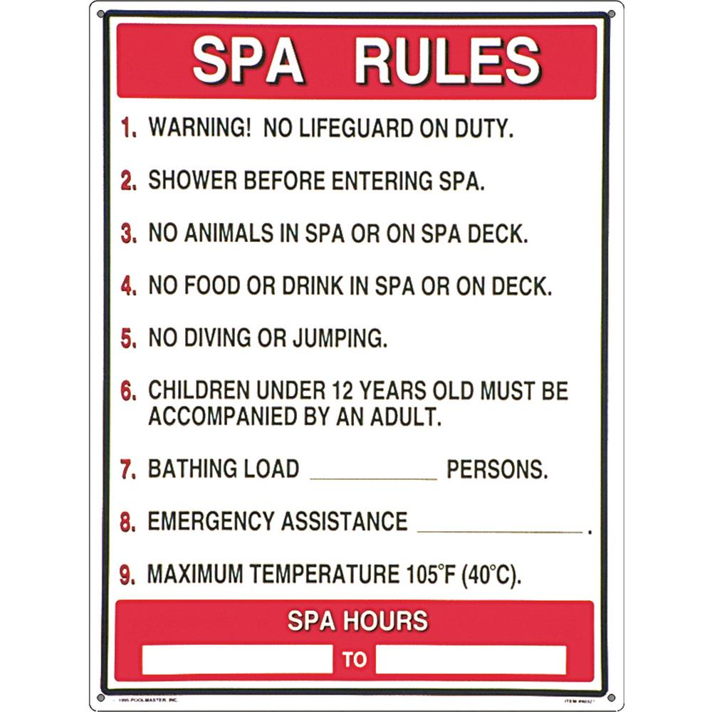 Poolmaster Sign for a Residential or Commercial Swimming Pools and Spas,  General Commercial Spa Rules