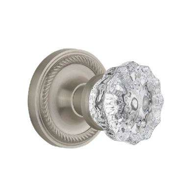 Rope Rosette 2-3/8 in. Backset Satin Nickel Privacy Bed/Bath Crystal Glass Door Knob