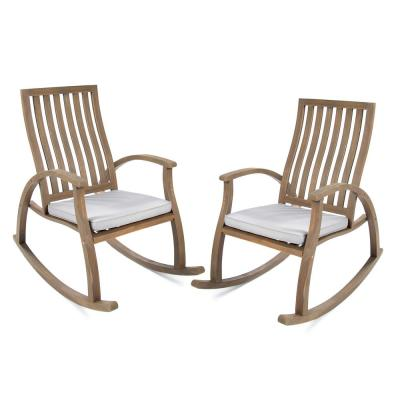 Cayo Brown Wood Outdoor Rocking Chair with Grey Cushion (2-Pack)