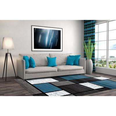 Contemporary Modern Boxes Area Rug Blue/Gray 10'x14'