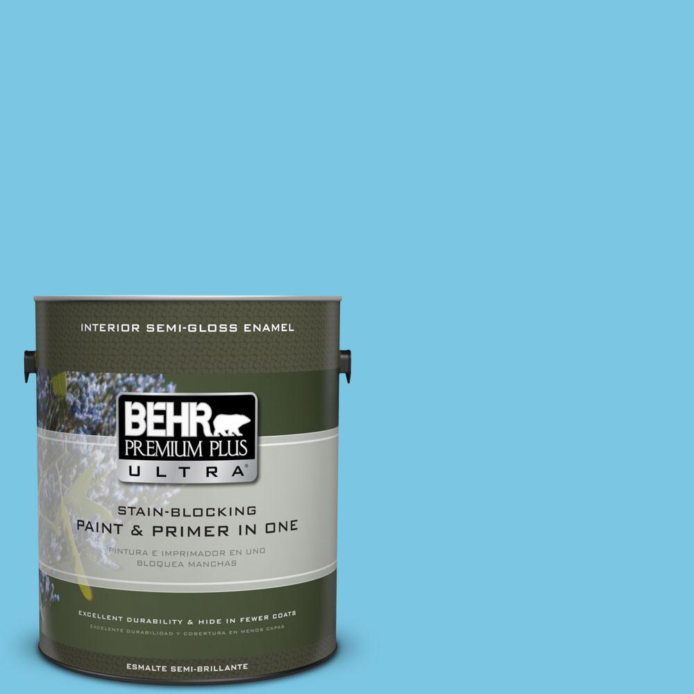 1-gal. #530B-4 Bliss Blue Semi-Gloss Enamel Interior Paint
