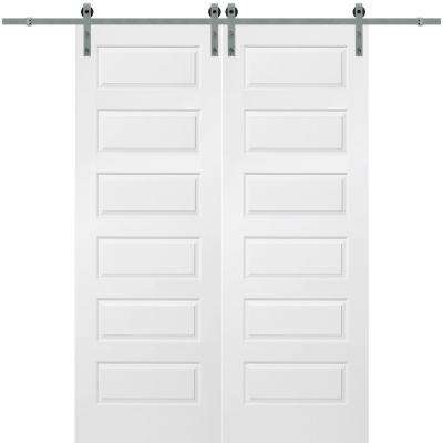64 in. x 96 in. Rockport Molded Solid Core Primed Smooth Surface Double Barn Door with Sliding Door Hardware Kit