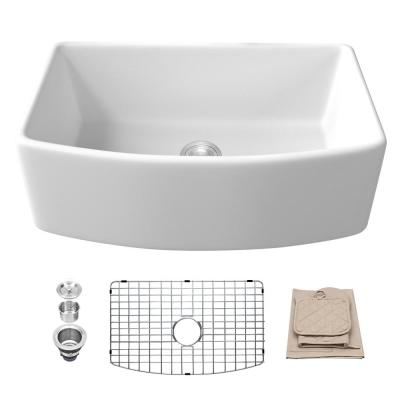 Glossy Fireclay 30 in. Single Bowl Farmhouse Apron-Front Kitchen Sink with Strainer