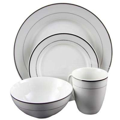 Palladine 16-Piece White Double Platinum Banded Dinnerware Set