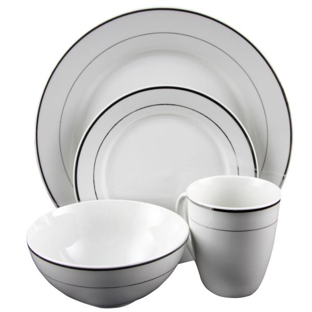 Gibson Home Palladine 16-Piece White Double Platinum Banded Dinnerware Set