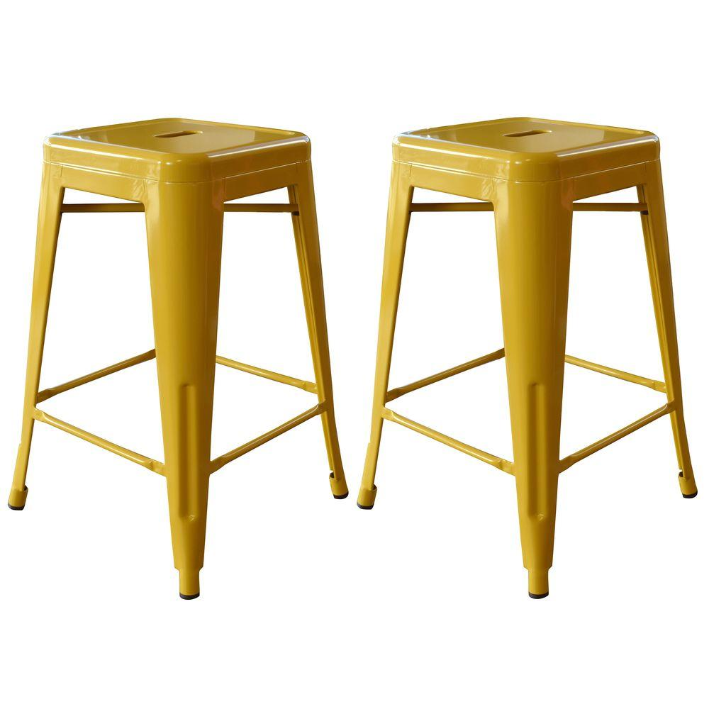 Amerihome Loft Style 24 In Stackable Metal Bar Stool In Gold Set