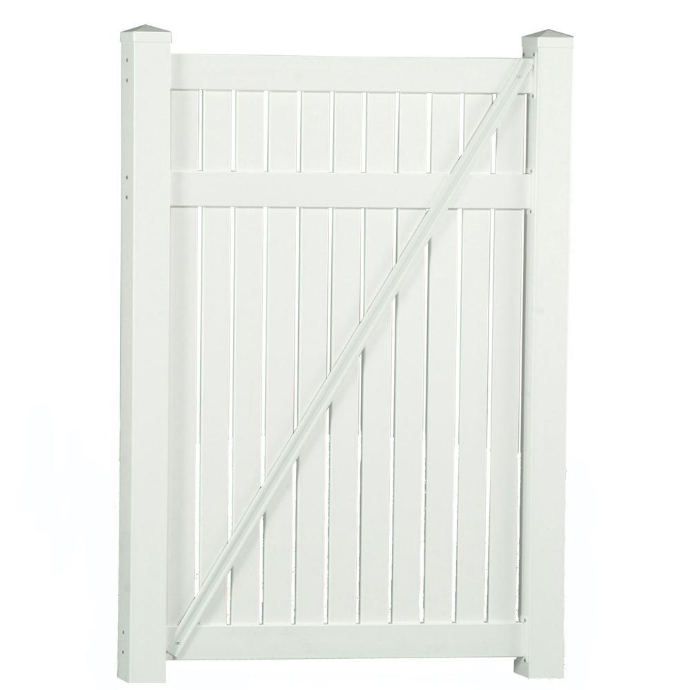 Hanover 4 ft. W x 5 ft. H White Vinyl Pool Fence Gate