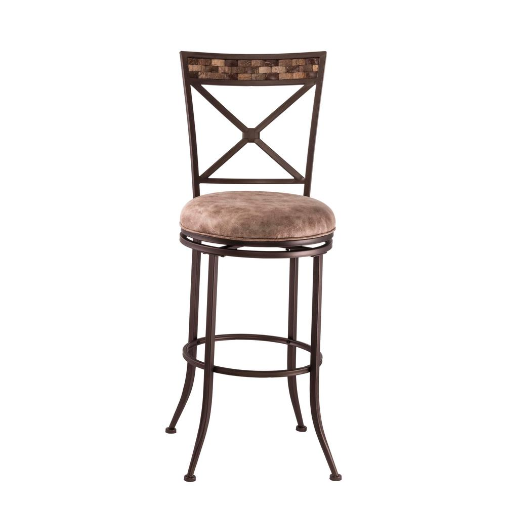 Compton 26 in. Brown Swivel Cushioned Counter Stool