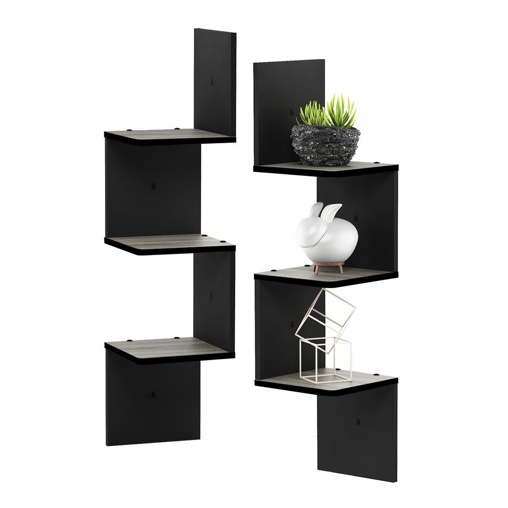 3 Tier French Oak Grey/Black Wall Mount Floating Corner Square Shelf