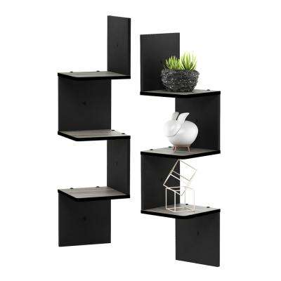 3 Tier French Oak Grey/Black Wall Mount Floating Corner Square Shelf (Set of 2)