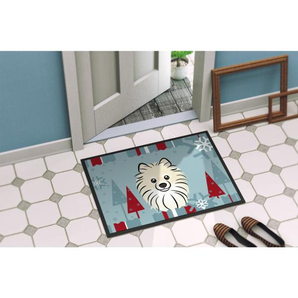 Caroline S Treasures 24 In X 36 In Indoor Outdoor Winter Holiday Pomeranian Door Mat Bb1703jmat The Home Depot