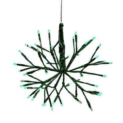 Alpine Corporation Christmas Twig Snowflake Ornament with LED Lights, Indoor Festive Holiday Décor, Green