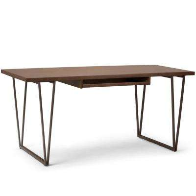 Ryder Solid Wood and Metal Modern 66 in. Wide and Metal Modern Indsutrial Writing Office Desk in Natural Aged Brown