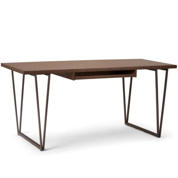 66 in. Rectangular Natural Aged Brown Writing Desk with Storage