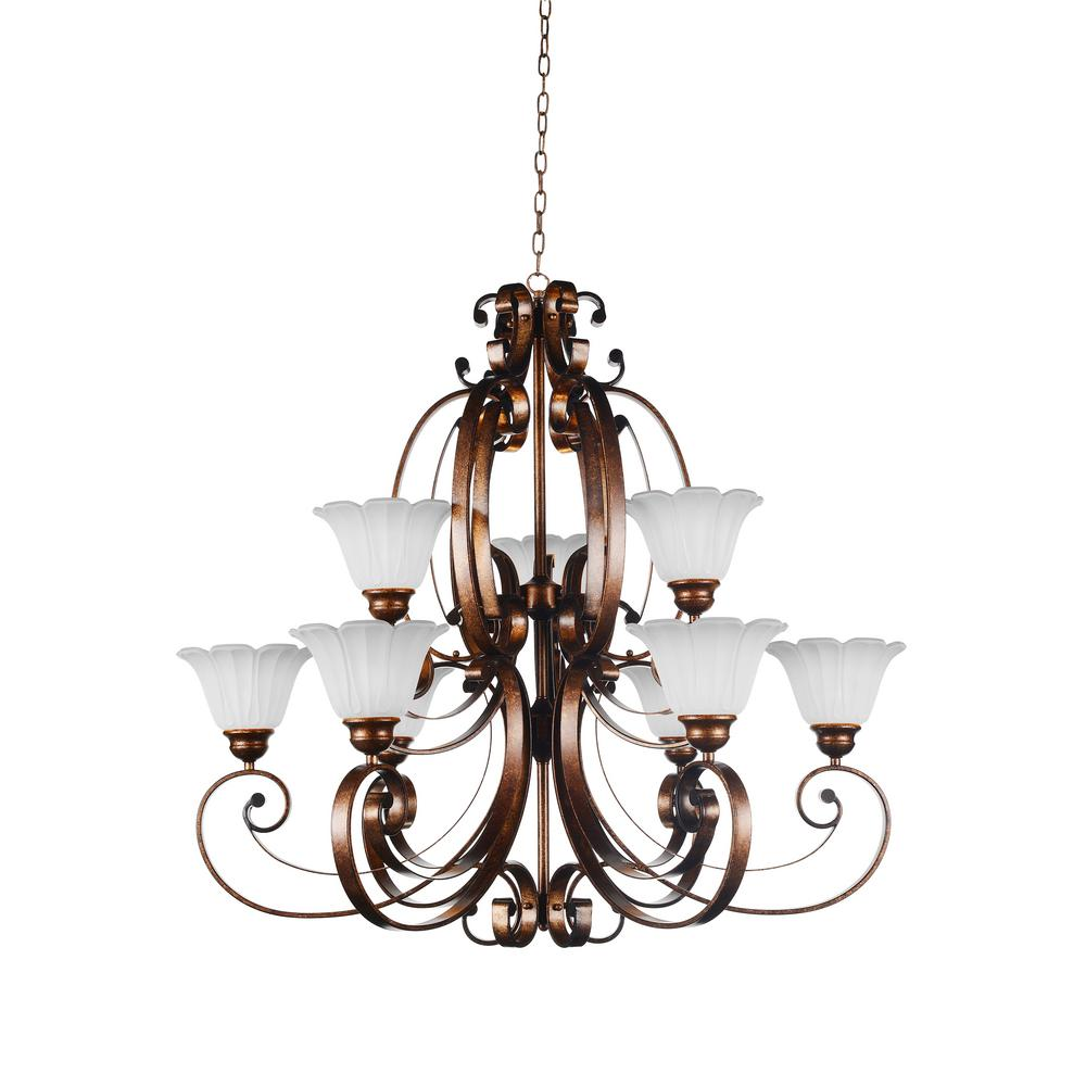 Victorian 9-Light Antique Gold Chandelier with White shade