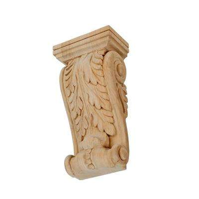 6-1/8 in. x 3-1/8 in. x 1-7/8 in. Unfinished Small Hand Carved North American Solid Alder Acanthus Leaf Wood Corbel