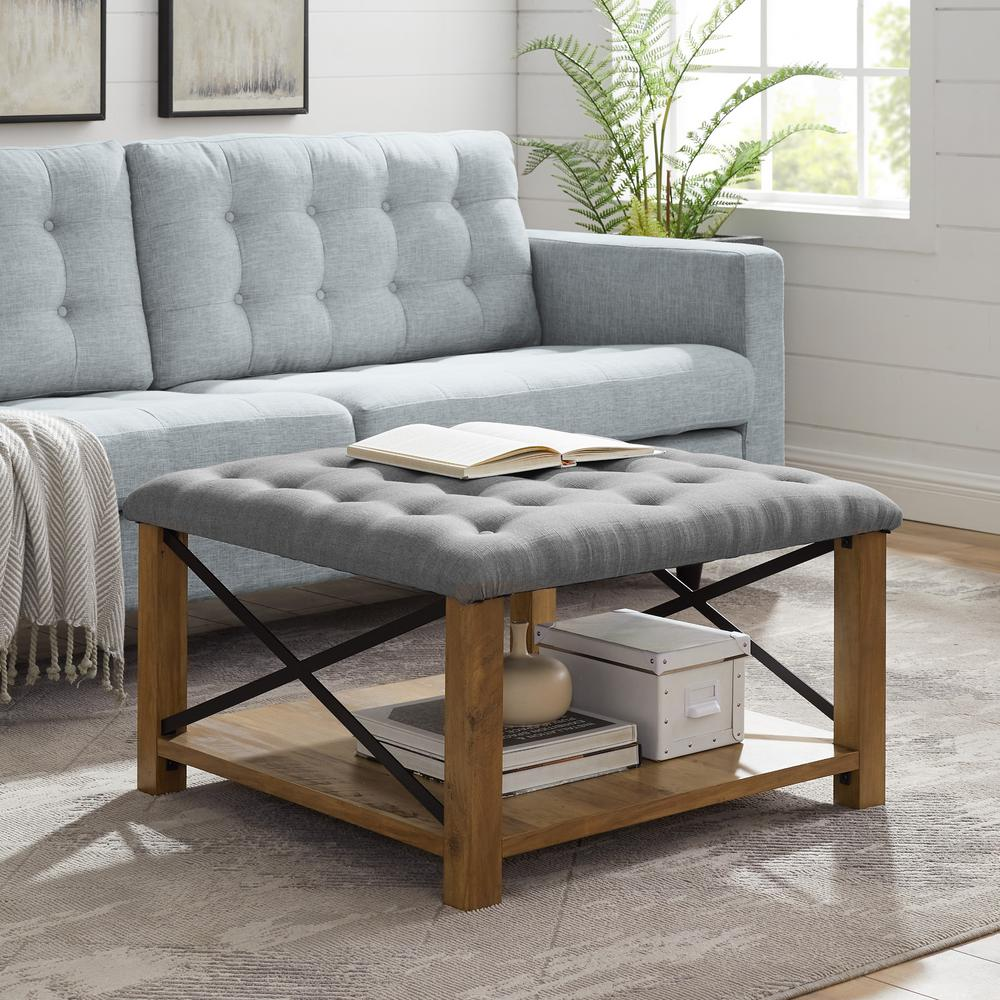 - Welwick Designs 30 In. Grey Farmhouse Tufted Ottoman-HD831 - The