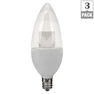 40W Equivalent Soft White B10 Candelabra Dimmable LED Light Bulb (3-Pack)