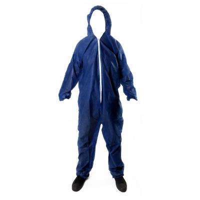 Coverall Hood Elastic Cuffs Chemical Protective Disposable Workwear for Cleaning Painting Manufacturing Blue Size 3X
