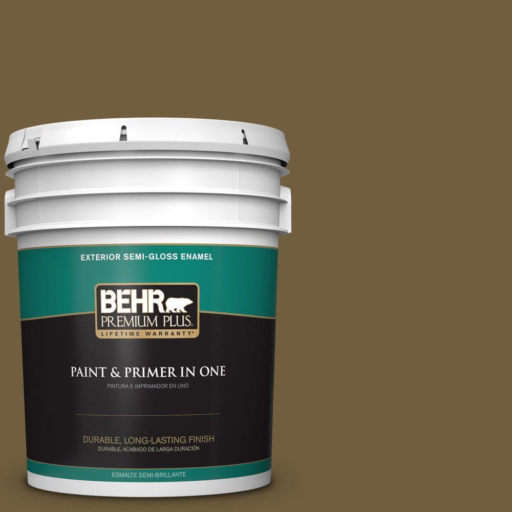 5-gal. #360F-7 Olive Shadow Semi-Gloss Enamel Exterior Paint