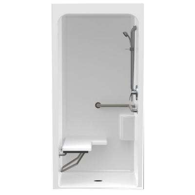 Accessible Acrylic 36 in. x 36 in. x 80.4 in. 1-Piece Shower Stall with Left Seat & Center Drain in White