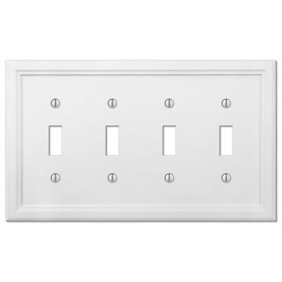 Elly 4 Gang Toggle Composite Wall Plate - White