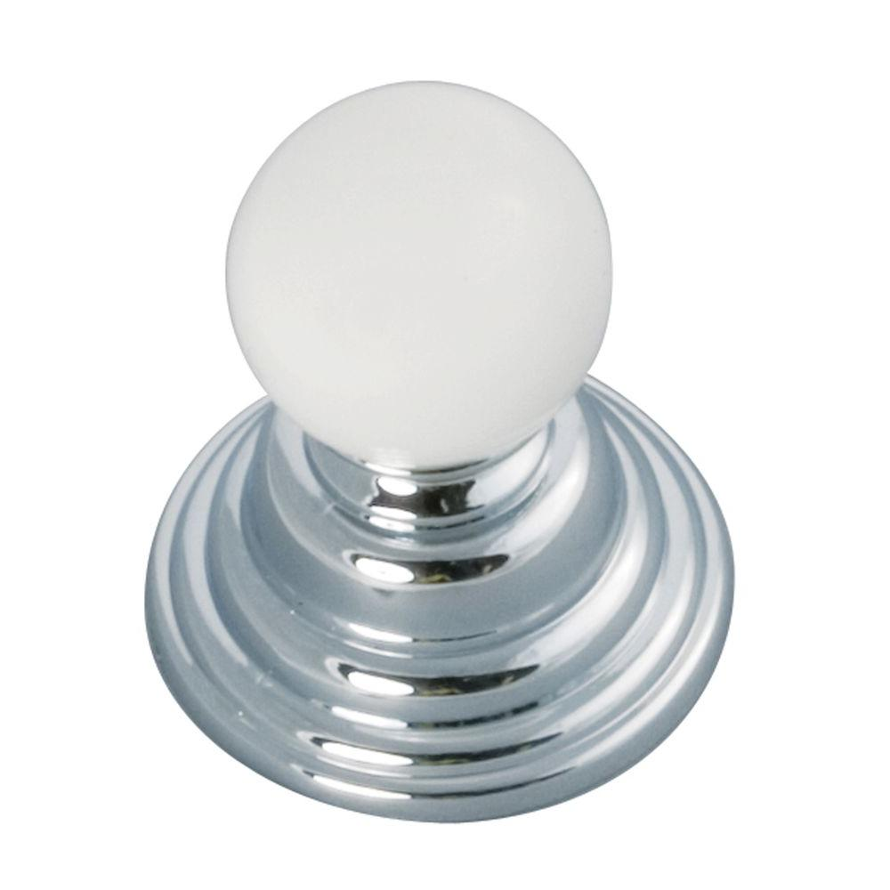 Gaslight 1-1/4 in. Chrome with White Cabinet Knob