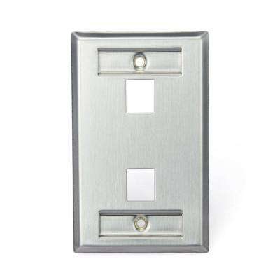 1-Gang QuickPort Standard Size 1-Port Wallplate with ID Windows, Stainless Steel