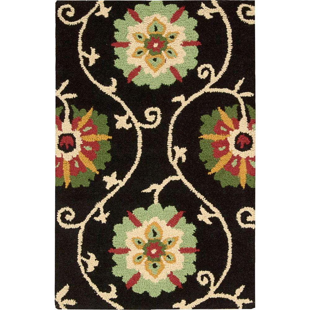 Nourison Overstock Suzani Black 2 ft. 6 in. x 4 ft. Accent Rug
