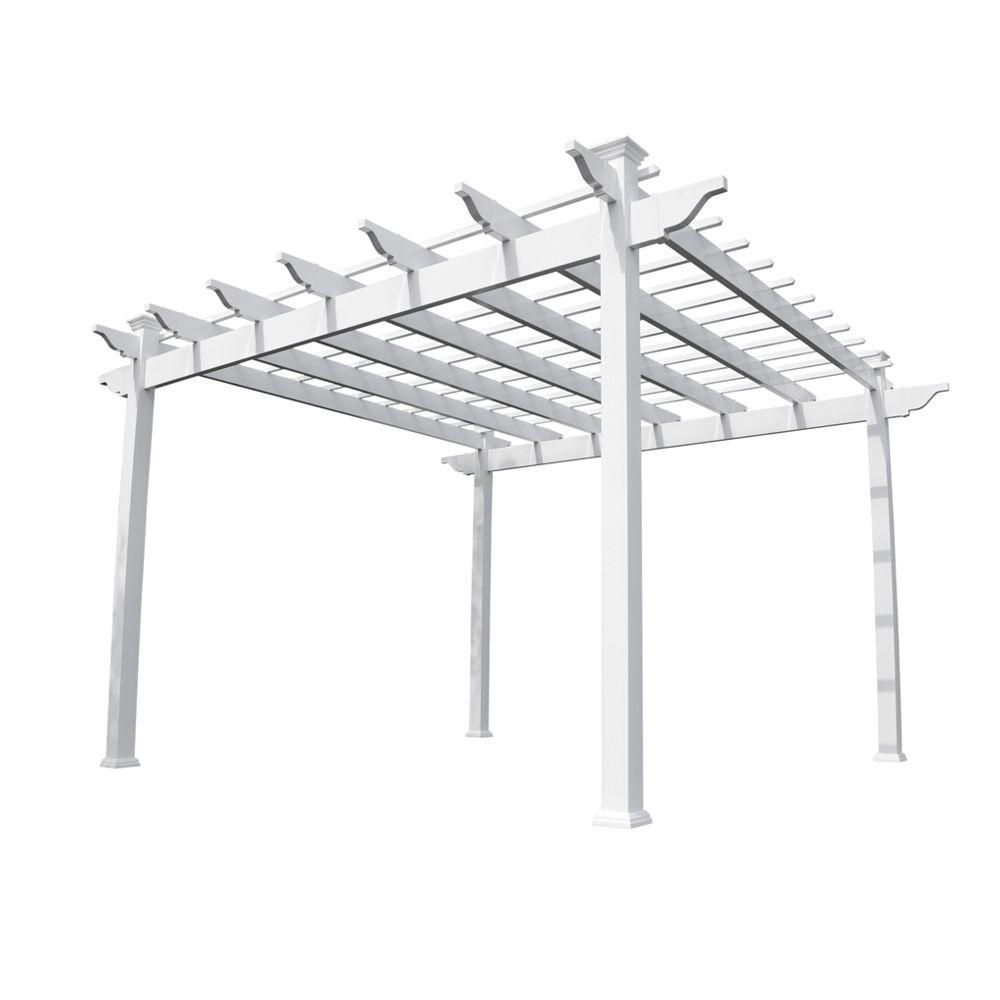 Weatherables Miramar 12 ft. x 12 ft. White Single Beam Vinyl Pergola