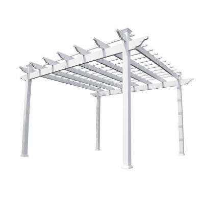 Miramar 12 ft. x 12 ft. White Single Beam Vinyl Pergola