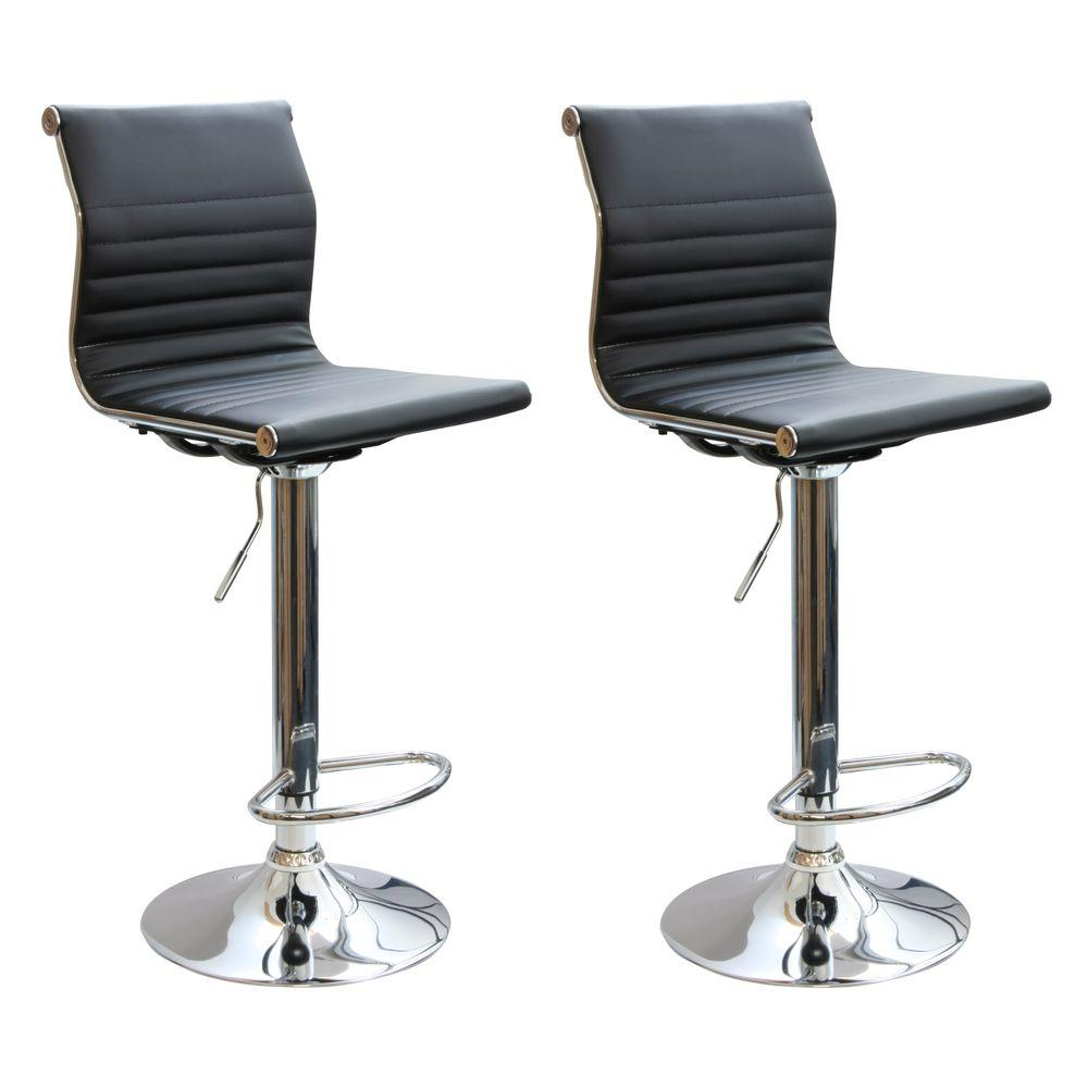 AmeriHome Adjustable Height Chrome Swivel Cushioned Bar Stool (Set Of 2)