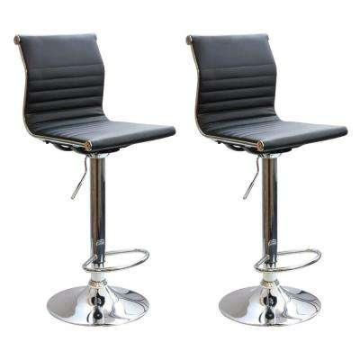 Adjule Height Chrome Swivel Cushioned Bar Stool Set Of 2