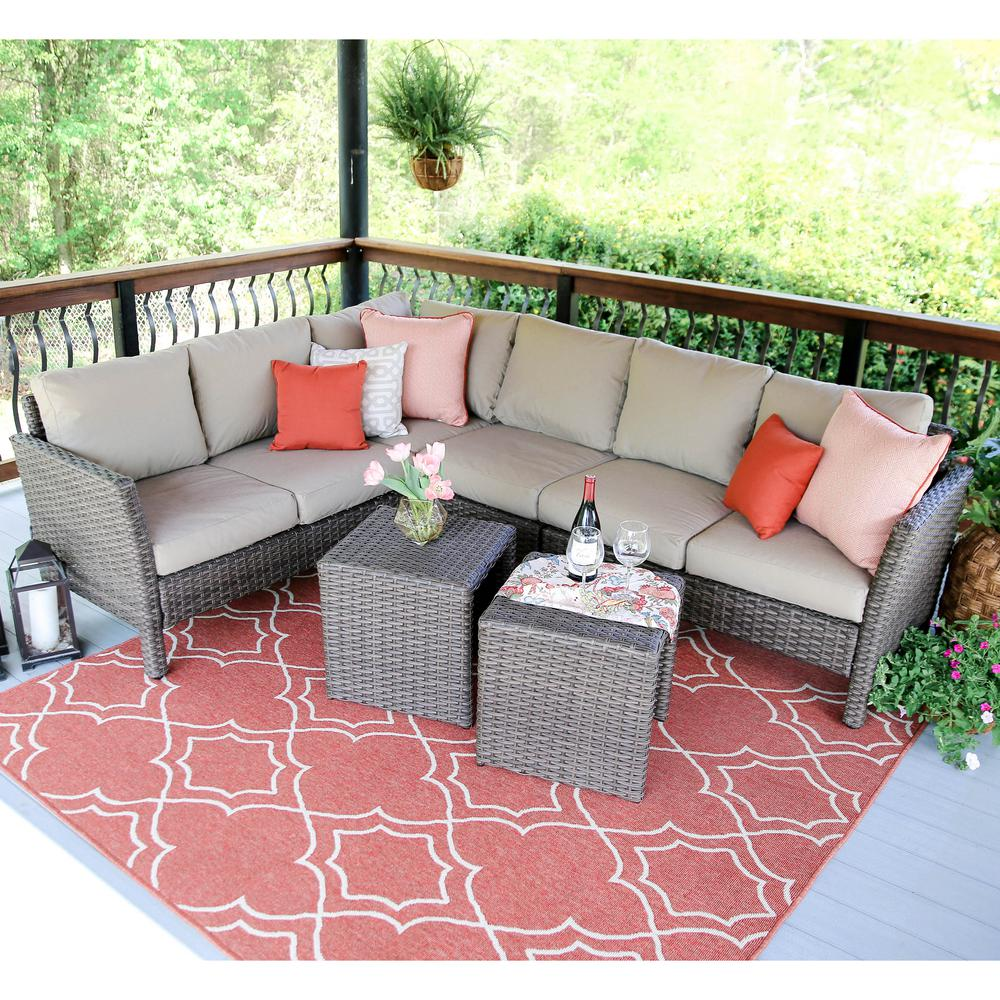 Canton 6-Piece Wicker Outdoor Sectional Set with Tan Cushions