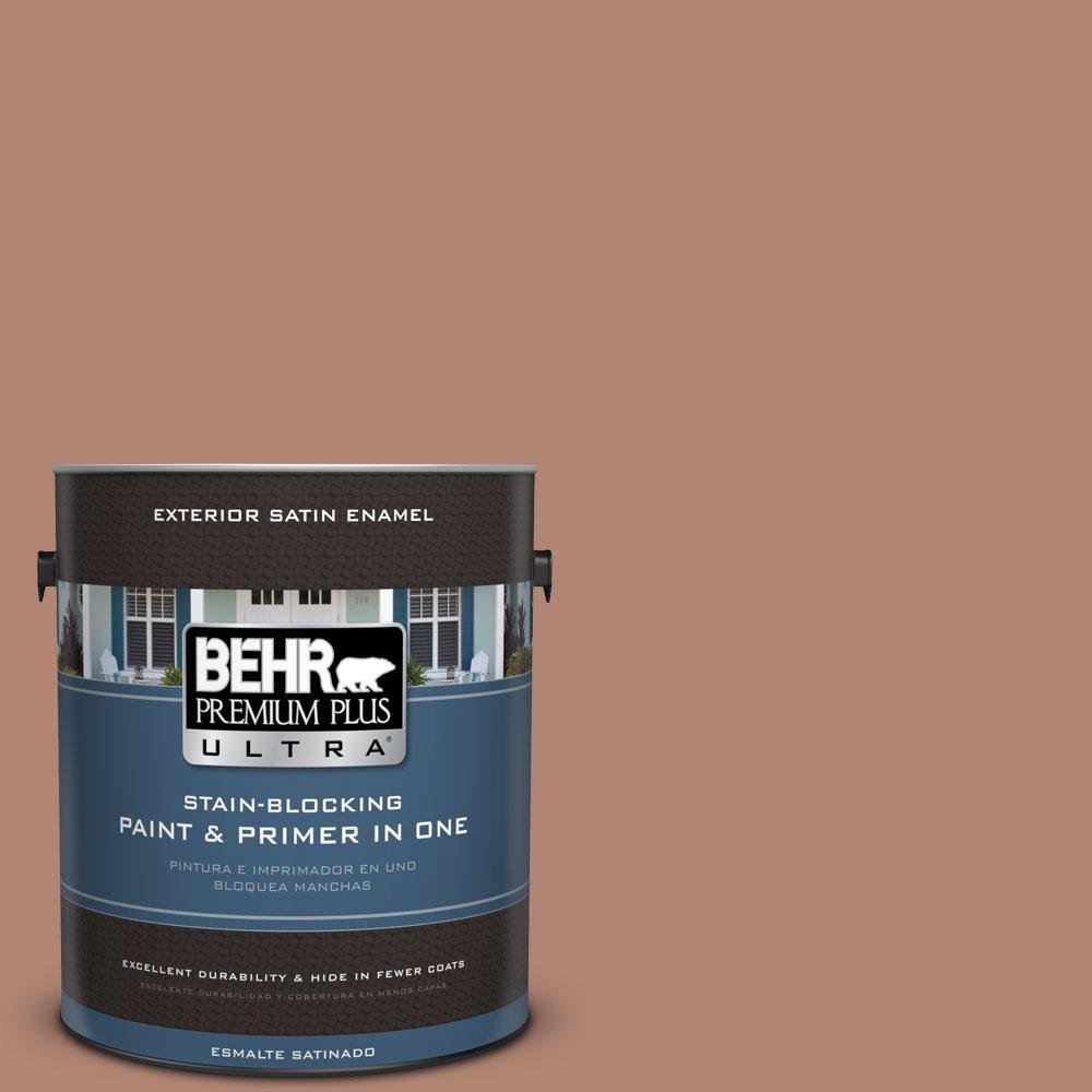 BEHR Premium Plus Ultra 1-gal. #220F-5 Light Mocha Satin Enamel Exterior Paint