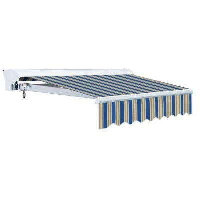 12 ft. Luxury L Series Semi-Cassette Manual Retractable Patio Awning (118 in. Projection) in Ocean Blue/Beige Stripes