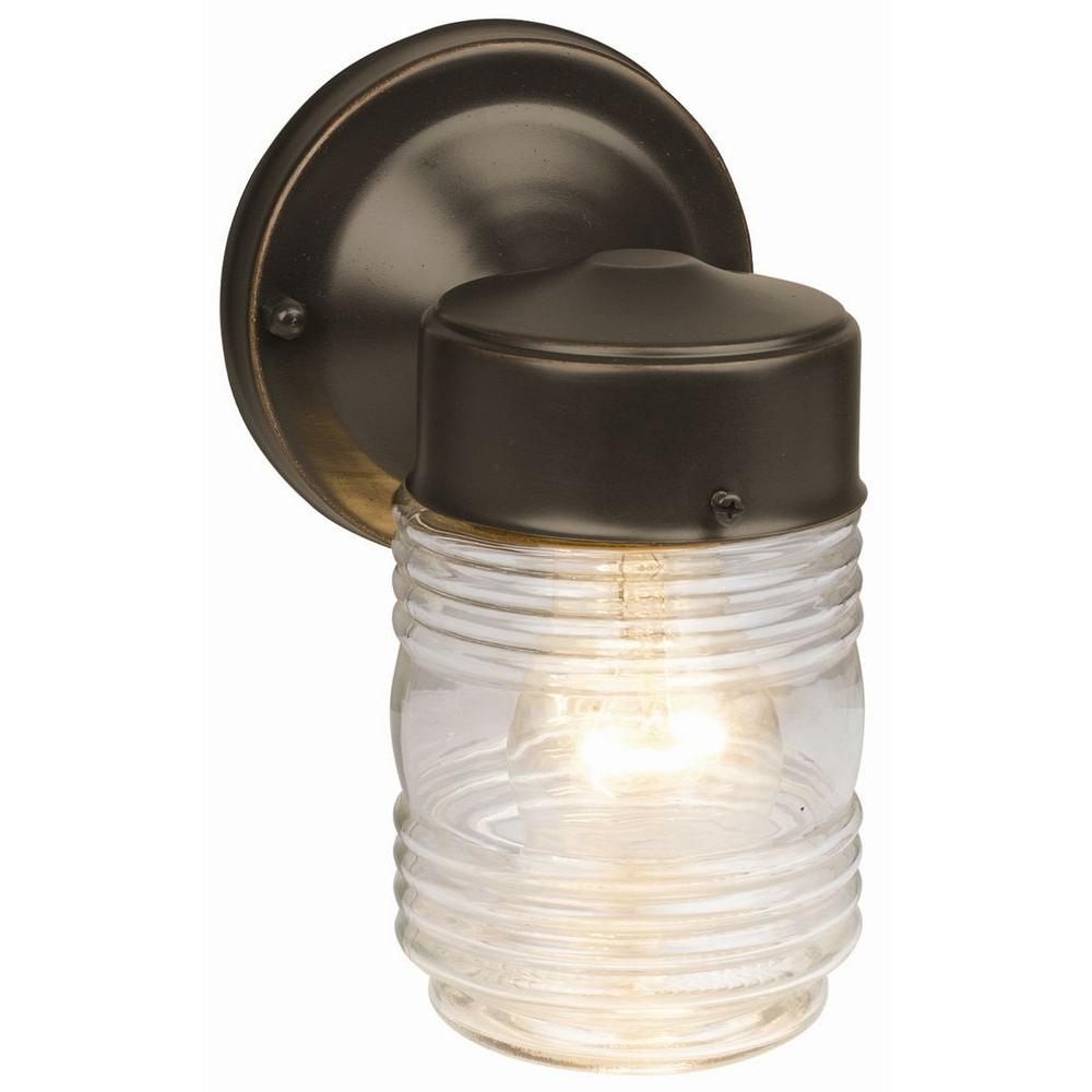 Design House Oil Rubbed Bronze Outdoor Wall Mount Jelly Jar Light