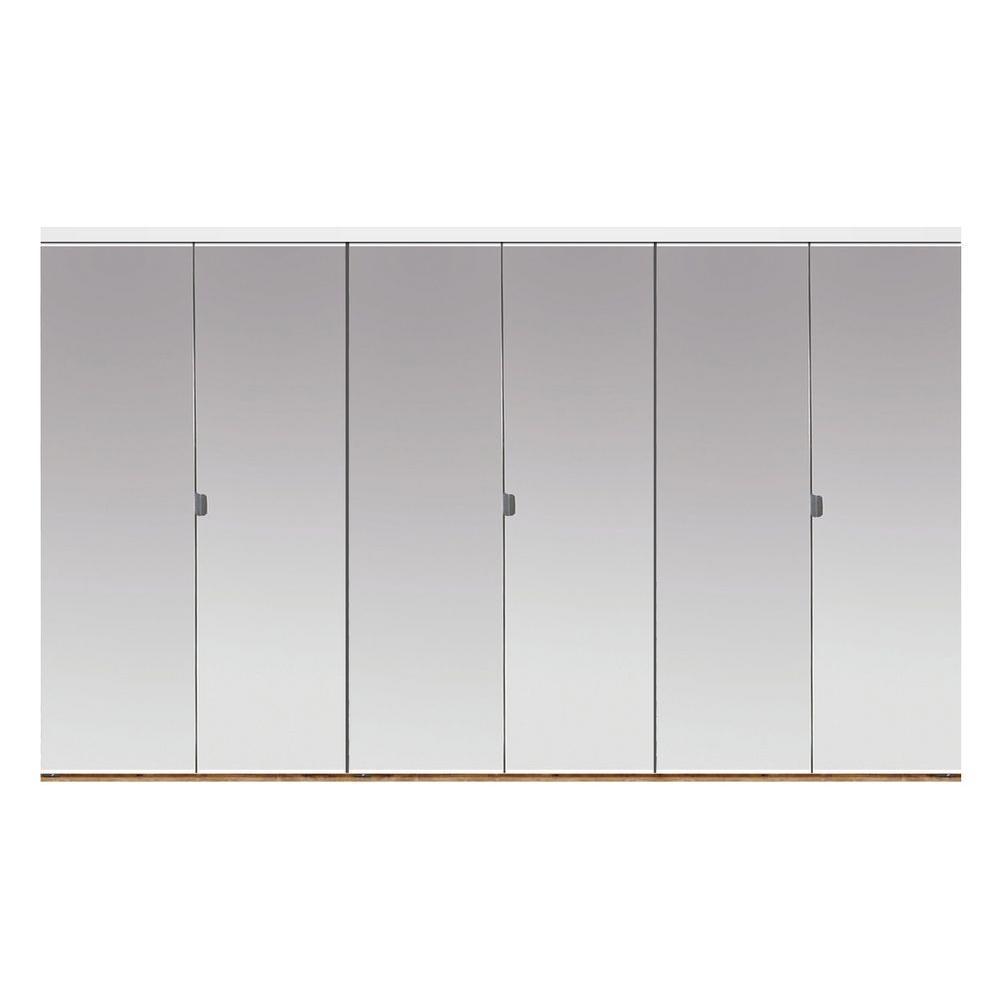 102 in. x 80 in. Beveled Edge Mirror Solid Core 1-Lite MDF Interior Closet Wood Bi-Fold Door with White Trim